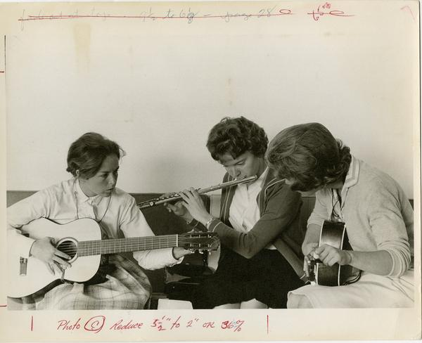 Students playing instruments, cal 1963