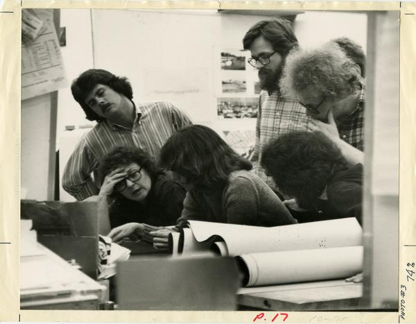Students looking at materials, ca. 1970s