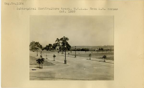 View of Subtropical Horticulture tract from southwest corner, ca. October 1929