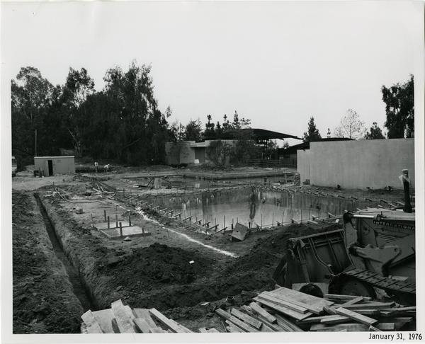 Sunset Canyon Recreational pool during construction, January 31, 1976