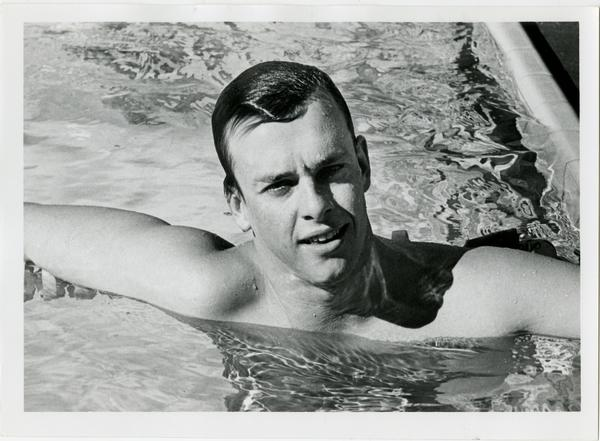 UCLA swim team member, Ed Ryder, in pool, ca. 1979