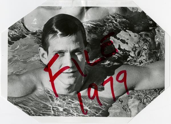 UCLA swim team member, Daniel Stephenson, in pool, ca. 1979