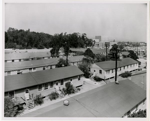 Temporary buildings southwest and west of University Research Library, October 4, 1962