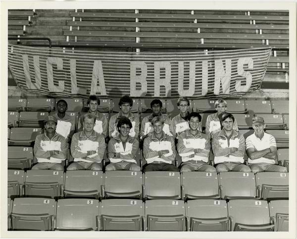 UCLA 1984 tennis team sitting in stadium seats