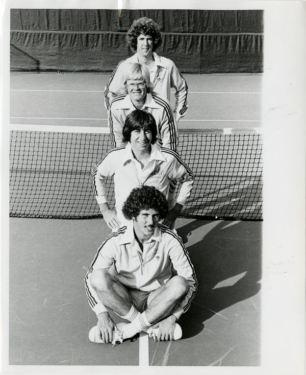 UCLA's 1977 All-America Tennis Players: co-captain Tony Graham, Jon Paley, co-captain Bruce Nichols, and John Austin