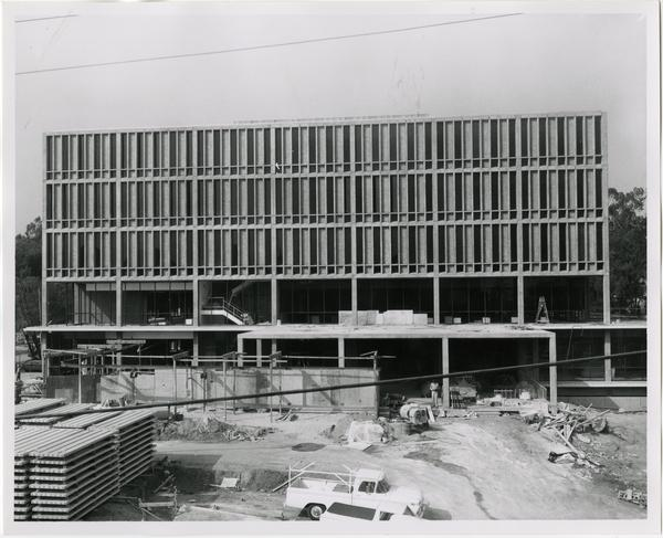 Front exterior view of the University Research Library under construction, October 11, 1963