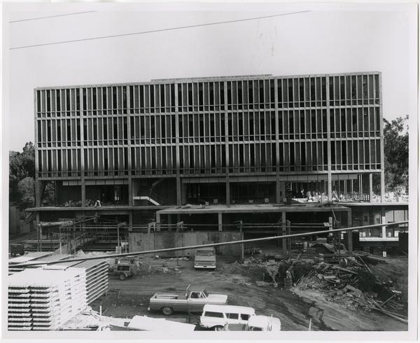 Front exterior view of the University Research Library under construction, September 27, 1963