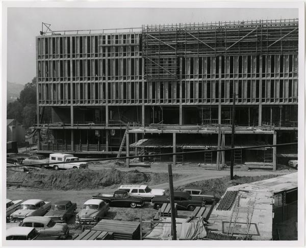 Front exterior view of the University Research Library under construction, April 5, 1963