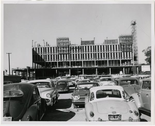 Front exterior view of the University Research Library under construction, March 4, 1963