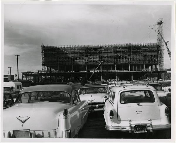 Front exterior view of the University Research Library under construction, February 4, 1963
