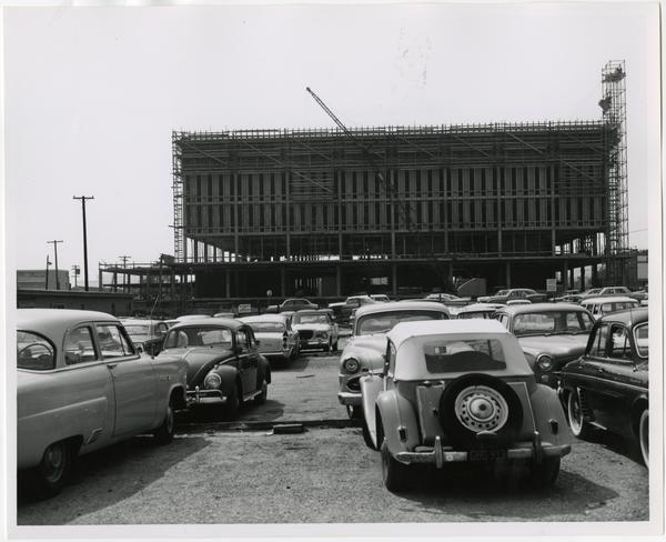Front exterior view of the University Research Library under construction, March 18, 1963
