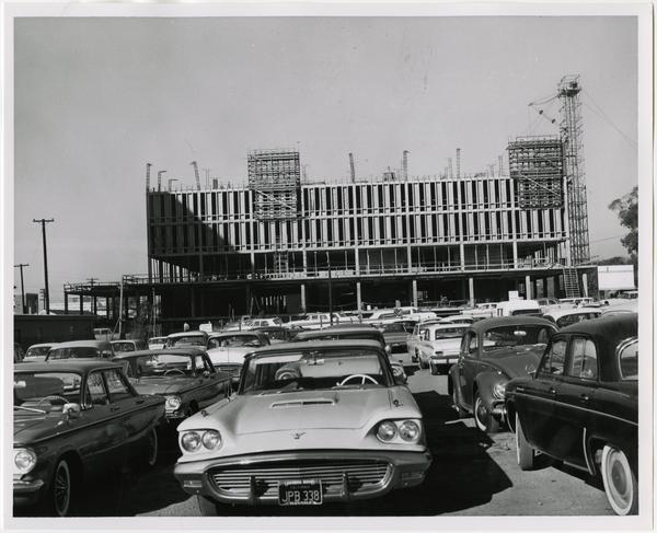 Front exterior view of the University Research Library under construction, February 25, 1963