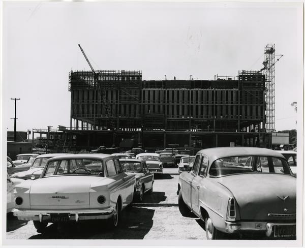 Front exterior view of the University Research Library under construction, March 22, 1963