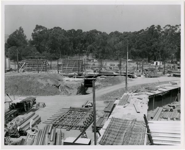 Front exterior view of the University Research Library under construction