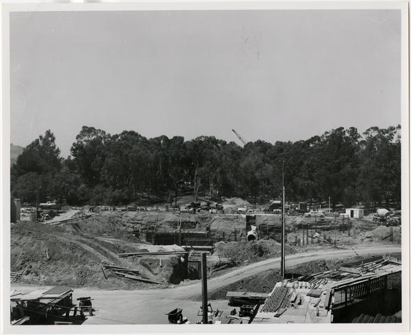 Front exterior view of the University Research Library under construction, June 29, 1962