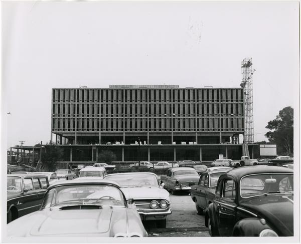Front exterior view of the University Research Library under construction, September 13, 1963