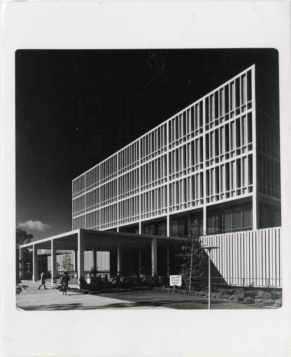 Side view of the University Research Library shortly after its completion