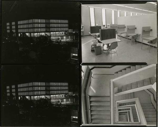 Contact sheet of interior views of the University Research Library