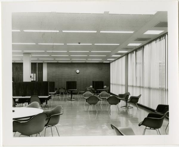 Empty chairs and tables in a study lounge of the University Research Library
