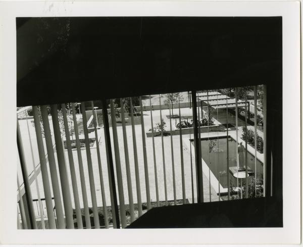 View of the courtyard from a window in the University Research Library