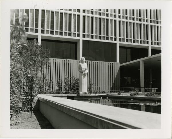 The pool to the left of the entrance of the University Research Library