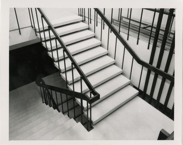 Part of the staircase in the University Research Library
