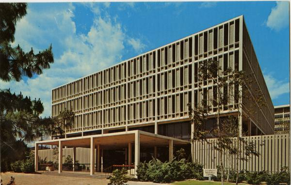 Postcard featuring the exterior of the University Research Library