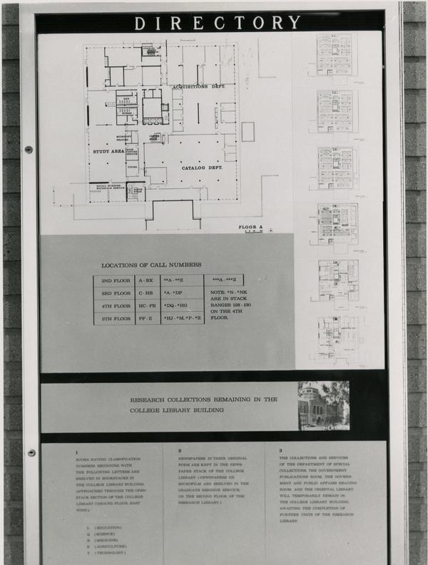 Directory of the layout of the University Research Library, ca. 1964