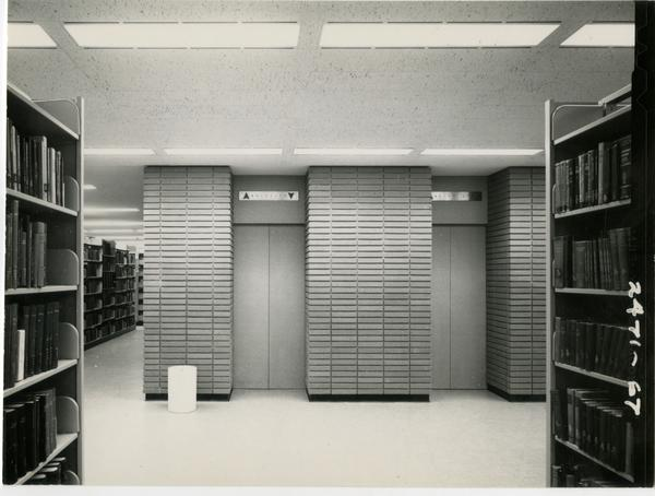 Elevators on one floor of the University Resarch Library, ca. 1964