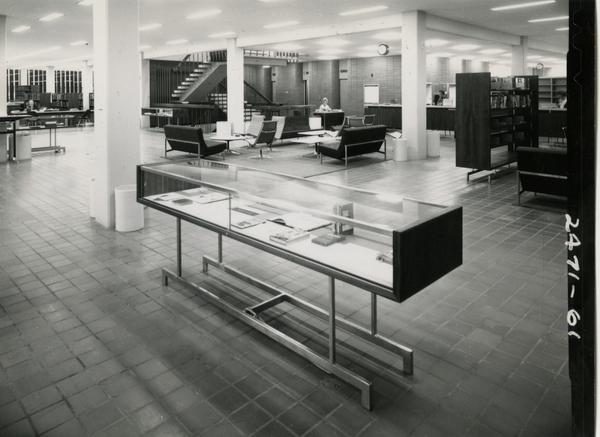 Lounge area in the University Research Library, ca. 1964
