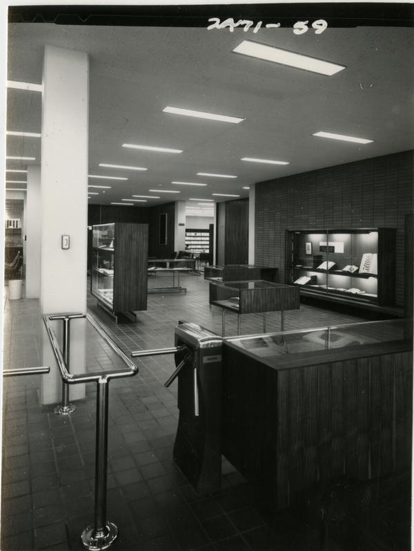Empty front entrance room of the University Research Library, ca. 1964