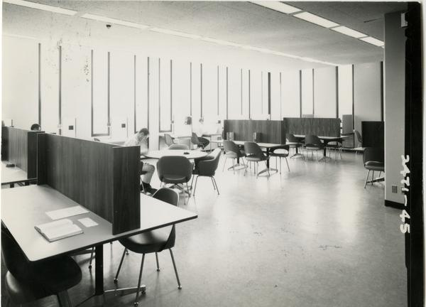 Students working in one of the study areas of the University Research Library, ca. 1964