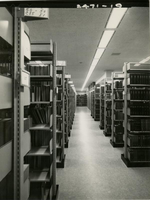 Looking down the stacks of the University Research Library, ca. 1964