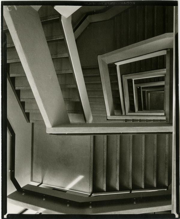 Looking down the staircase of the University Research Library, ca. 1964