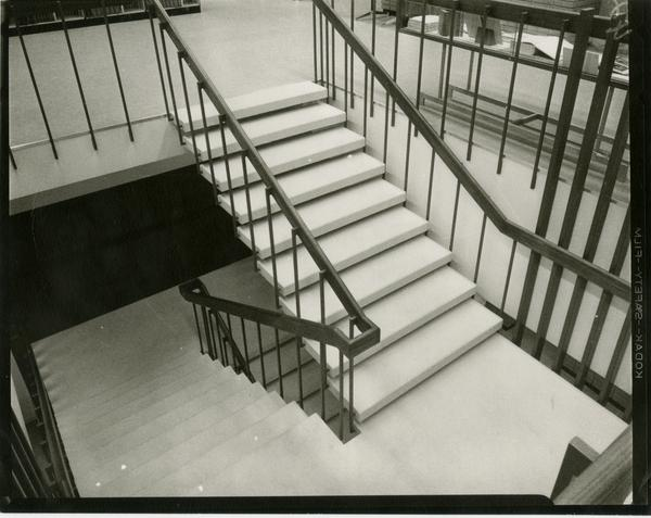 Part of the staircase in the University Research Library, ca. 1964