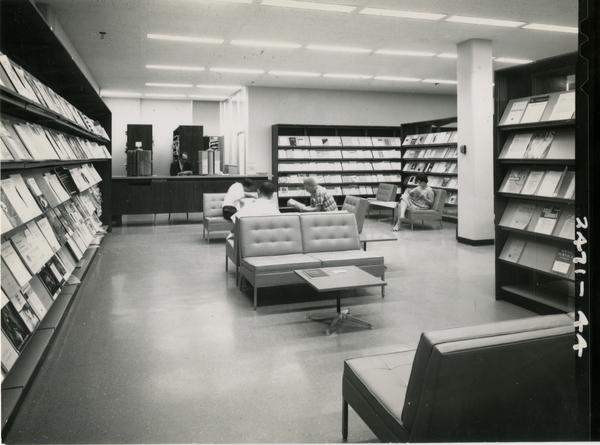 Study lounge in the University Research Library, ca. 1964