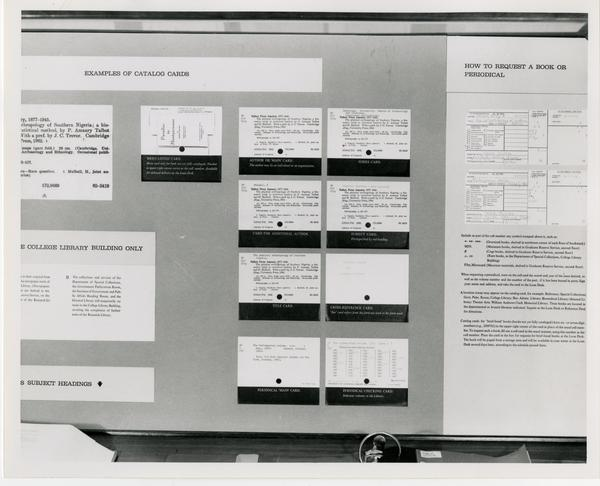 Reference tools to assist patrons in utilizing catalog cards, University Research Library, ca. 1964
