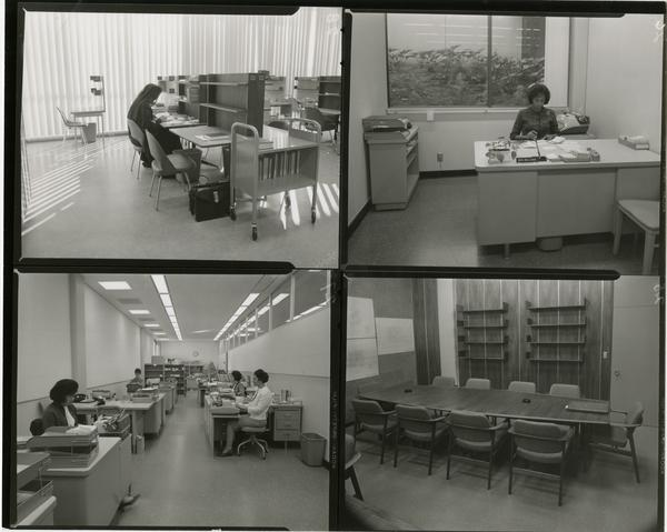 Contact sheet of students studying in the University Research Library, ca. 1964