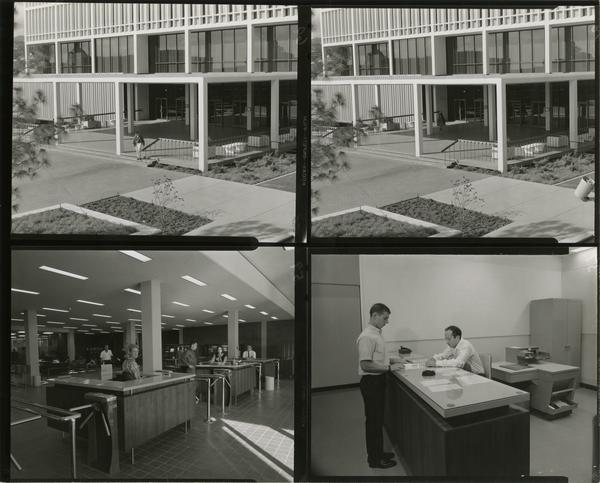 Contact sheet of different views of the University Research Library, ca. 1964
