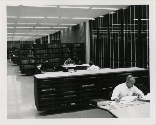 View of downstairs reading room in University Research Library, ca. 1964