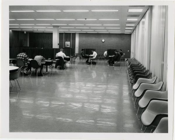 Students working in study area of University Research Library