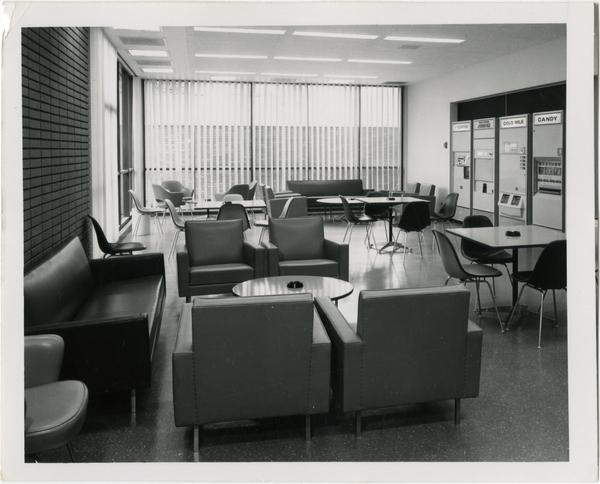 View of lounge area in University Research Library, ca. 1964