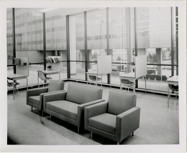 View of study cubicles on unidentified floor of University Research Library, ca. 1964