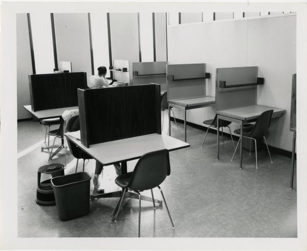 Students working in study cubicles in University Research Library, ca. 1964