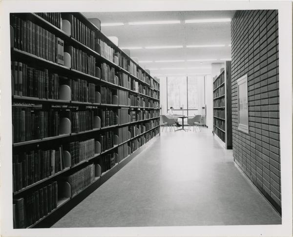 View of stacks in University Research Library, ca. 1964