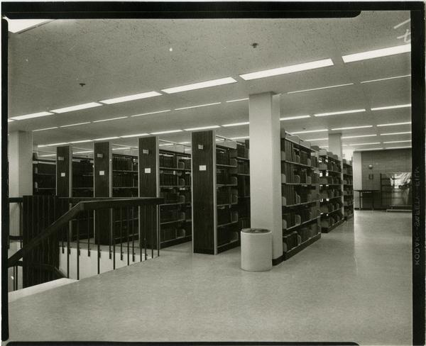 Contact print of library stacks, ca. 1964