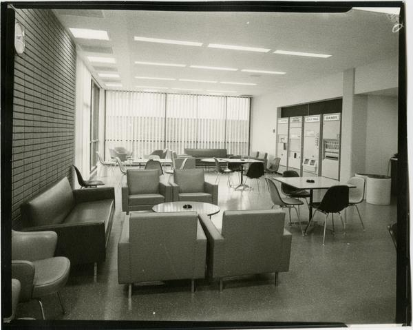 Contact print of view of lounge in University Research Library, ca. 1964