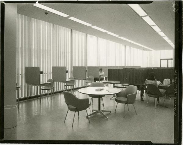 Contact print of students working in study cubicles in University Research Library, ca. 1964