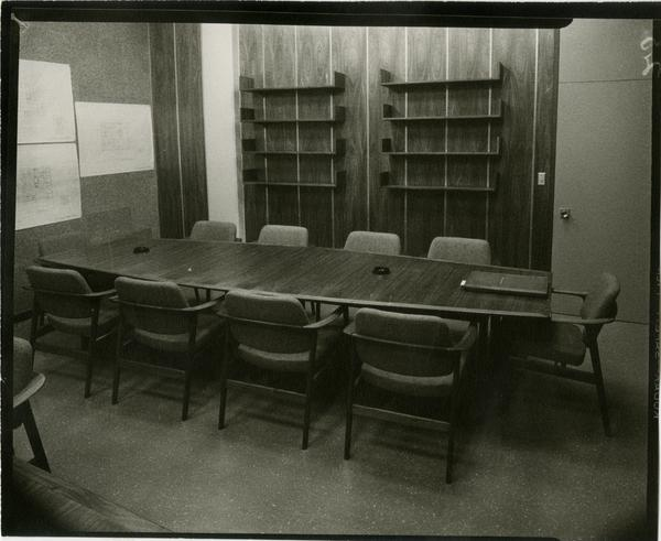 Contact print of view of University Research Library conference room, ca. 1964