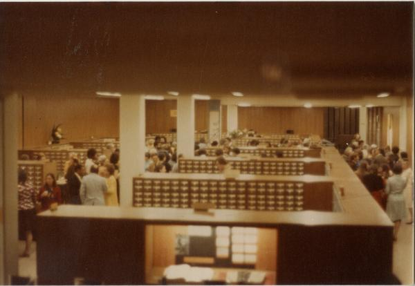 View from stairs down to A-level in University Research Library, ca. 1964